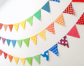 Rainbow Birthday Bunting Banner Decoration in MINI Fabric Flags -- Pony or Unicorn Party Decor, Baby Shower, Photo Prop
