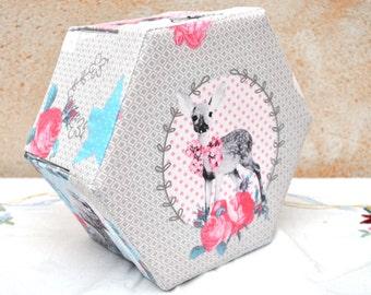 Hexagonal Sewing Box - Fabric Covered Cartonnage - 'Hello Deer'
