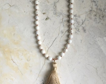White Turquoise and Tassel Necklace. Long Bead Necklace. Small Copper Beads. Rose Gold. Neautral Stone Necklace. Bohemian Necklace. Mala