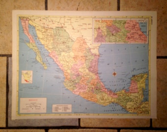 Political Map of Mexico Antique Illustration