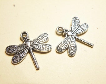Ten (10) Pewter Silver Dragonfly Charms with Fancy Design