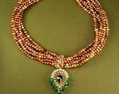 Exotic Statement necklace Dramatic choker genuine pearls Green chandelier drop OOAK teardrop princess pendant