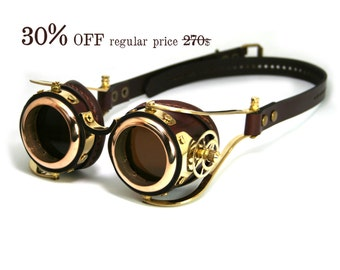 STEAMPUNK GOGGLES brown leather polished brass gear FLEX Solid Frames