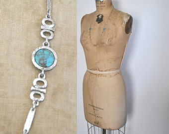 Silver and Turquoise Necklace / 1980s Chain Sarah Coventry