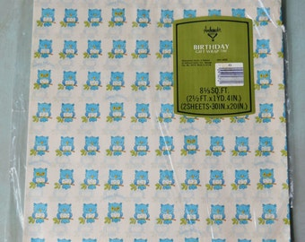 Vintage Blue Owl Birthday Gift Wrap 2 Sheets in Original Package Ambassador