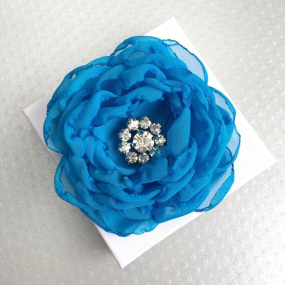 Blue Chiffon Fabric Flower Hair Clip Handmade with Rhinestones