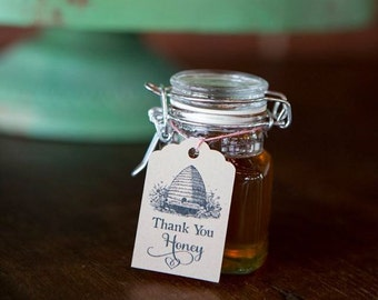 12 Thank You Honey Tags . Beehive Wedding Tags