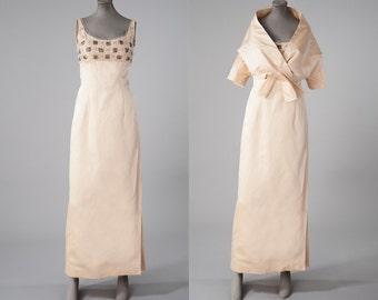 Vintage 1950s Beaded Silk Gown & Jacket, Cream Peau de Soie Dress Set, 50s 60s Column Gown Wrap Top, Evening Gown, Womens Clothing, Dresses