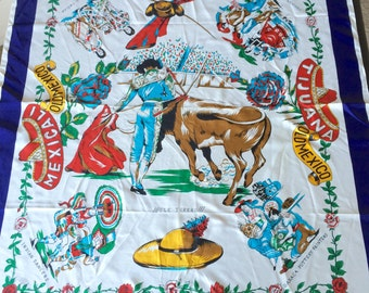 Vintage Old Mexico Silk Scarf with Mexicali, Tijuana Travel Souvenir Mexican Fiesta Theme