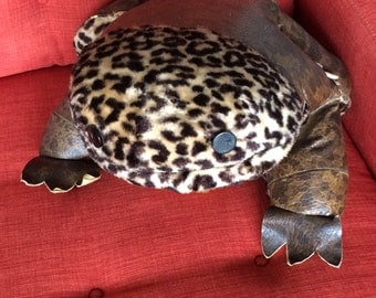 Vintage Big Stuffed Frog Animal with Leopard Print Fake Fur and Naugahyde Vinyl Fabric 50s Rockabilly 60s Retro