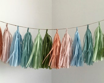 MEADOW / tissue paper tassel garland / nursery garland / subdued wedding decorations / birthday party / vintage color decorations / fringe