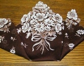 Vintage Scalloped Brown & White Nosegay Bouquet of Daisies Floral Wedding Handkerchief or Doily, 9729