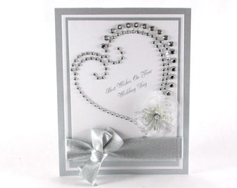 Wedding card, wedding day card, elegant wedding card, bride and groom, congratulations, heart