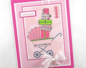 Baby girl cards, baby shower cards for girls, it's a girl, congratulations, pram, carriage, new baby, personalized sentiment tag