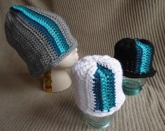 Blue & Grey Beanie, Blue Stripes, Slouchy Beanie