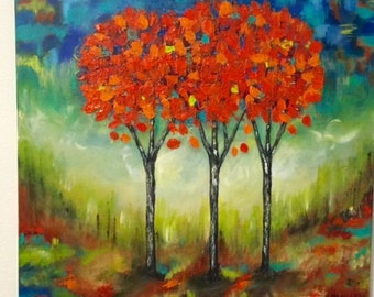 "Art, Original, Abrstract, Acrylic, Painting ""Orange Trees "" By Maite Tobon -Hanmade"