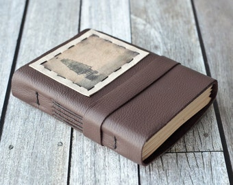 Tall Ship Leather Journal, Brown Travel Diary