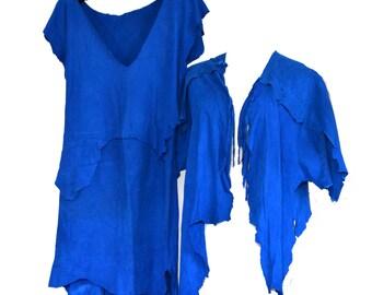 SALE Deerskin Dress Buckskin 80s Cobalt Blue Suede Dress Jacket Sz XS