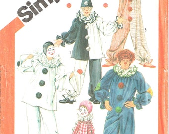 Clown Suit Hat, Top and Pants, Ruffled Neckline Halloween Costume Simplicity 5740 Child Sewing Pattern Children Girls 6 8 10 12