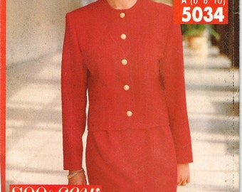 Pant Suit Round Neckline Jacket Skirt Pants Butterick 5034  Sewing Pattern  1990s Size 6 8 10 Bust 30.5 .31.5 32.5