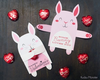 Woodland Bunny Rabbit Classroom Candy Holder valentines cute animals hug individual candy valentine card Valentine's day chocolate holders