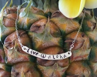 "Sterling Silver ""upcycled"" live aloha Bar Necklace"