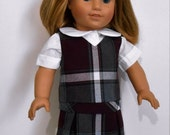 Plaid school uniform with blouse fits American Girl