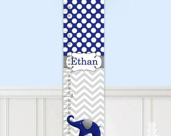 Canvas GROWTH CHART Navy and Grey Chevron Elephant Girls Kids Bedroom Baby Nursery Wall Art GC0013