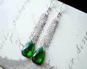 Emerald Green Quartz Earrings, Green Gemstone Earrings,Sterling Silver - Rainforest Waterfall by CircesHouse on Etsy