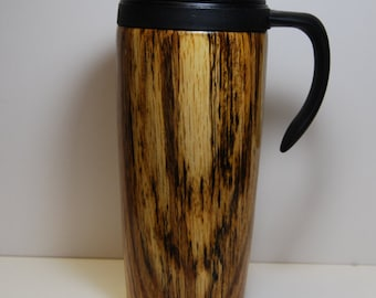 Coffee Travel Mug, Coffee Tumbler, Oak Wood Travel Mug with Handle, 24 Ounce Capacity