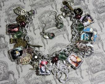 Alice in Wonderland-Charm Bracelet set, earrings, fantasy, classic fairytale