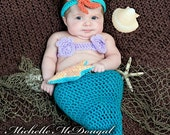 On Sale Mermaid Tail Costume, 6 to 9 Month Mermaid Photo Prop Set