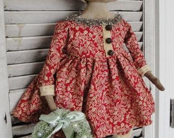 EPATTERN - Sallie Snowbells primitive folk art snowman christmas doll epattern