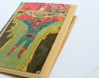 Superman Comic business card case Superman vintage comic book page RECYCLED into mini wallet gift card holder business card case