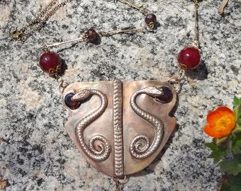 Garnets and Snakes Vintage Art Nouveau Necklace