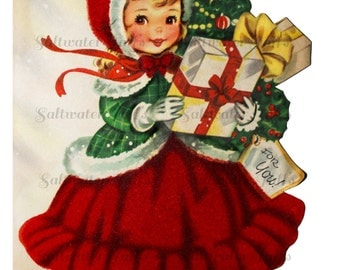 Girl with Christmas Presents Card Image Digital Download vintage transfer card holiday xmas christmas card vintage 1950s red dress gifts