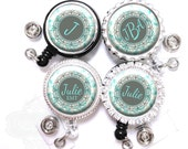 Blue and Gray Badge Holder - Personalized Vines and Floral Retractable Lanyard ID Reel with Name, Monogram, Occupation (A246)