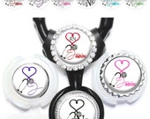 Littmann Stethoscope Tag - Personalized EKG Heart Medical Nurse Stethoscope ID in 6 Colors with Name, Monogram, Occupation Title (A053)
