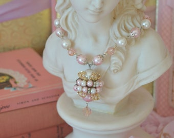 VINTAGE PINK PEARL necklace, long faux pearl and rondelle rhinestone mid century necklace