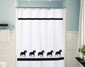 Clydesdale Horse Shower Curtain -  Your choice of colors - Towels and window valances to match are available