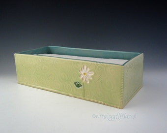 Pottery Tray - Paper Towel Holder in Lime and Turquoise with Daisy and Heart - C-Fold Towel Dispenser - by DirtKicker Pottery
