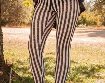 Lace Knit Carnival Leggings Black and White Stripes Semi-Sheer Limited Edition : Made to Order Sz. Sm Med Lg XL Circus