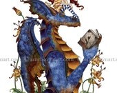 Book Club Dragon and fairy 8.5x11 PRINT by Amy Brown