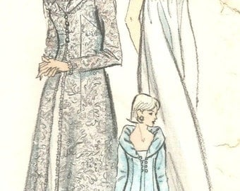 Vintage 60s Vogue 6430 Misses Nightgown and Robe- Peignoir Set Sewing Pattern Size 12 Bust 32
