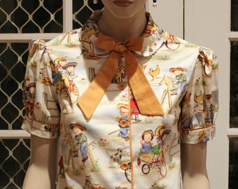 Classic 1940's WWII Vintage Reproduction Blouse
