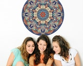 """Tapestry Boho Mandala Fabric Wall Decal Removable and Reusable 24"""" or 36"""""""