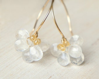 Moonstone Flower Dangle Earrings, Wedding Earrings, June Birthstone Jewelry, Gift for her