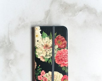 iPhone 7 Wallet Case Floral Bunch on Black, iPhone 7 Plus Womens Wallet Floral iPhone 6S Plus