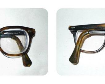 American Optical Vintage Wayfarer Eyeglasses Frame Tortoise Shell Sunglasses JFK Glasses Saratoga Stadium pre-owned 46-22-6 Med-Large sz