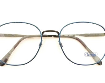 Vintage 80s Eyewear NOS Marbled Camouflage Preppy Frames Denim Blue Round ish Disco MOD Eyeglasses Bug Eye P3 Sunglasses. 52mm 19mm 135mm